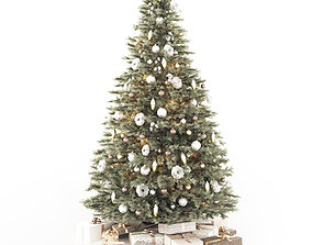 Christmas tree with decorations and gifts 3D