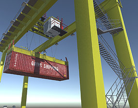 Shipping Port Gantry Crane 3D model