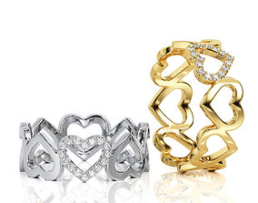 3D print model Heart Ring Band R 0073