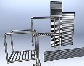 Architectural elements lattice and staircase 3D model