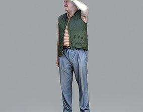 3D Elder Man Waving and Wearing Green Vest