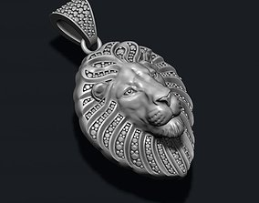 Lion pendant with diamonds and closed 3D printable model