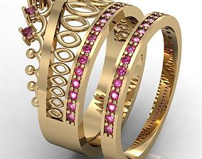 rings fashion ring crown 3D printable model
