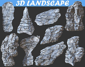 Low poly Realistic Rocky Sharp Cliff Modular 3D