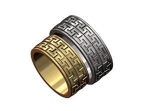 3D print model Double row Meandre Greek key pattern ring