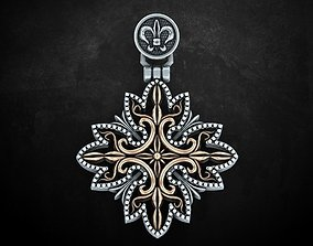 Stylish pendant with patterns in two 3D printable model 1