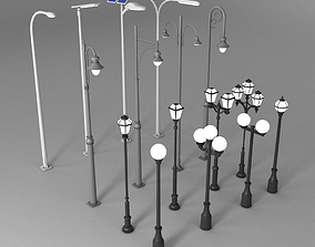 3D asset 16 Low-Poly Street Lights