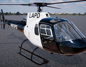 3D Low Poly PBR Police Eurocopter AS350