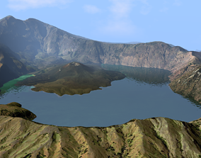 3D Volcano Mountains Crater - Lake Segara Anak