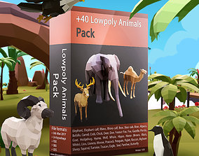 3D model VR / AR ready 42 Lowpoly Animals Pack