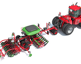 Seed Drill with Articulated Tractor 3D model