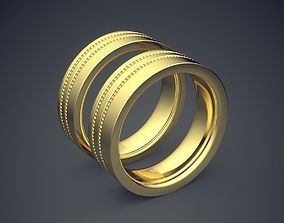 Classic Golden Engagement Ring With 3D printable model 2