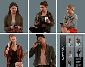 scanned Set of 3D women talking on the phone