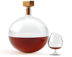 3D Decorative decanter and glass with cognac