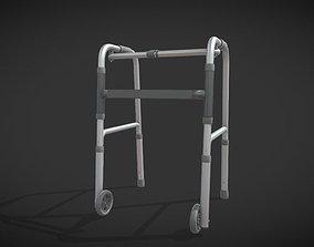 Old man walker aids with tire black 3D asset