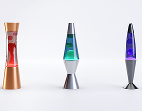 Set of Retro Lava Lamps - Decorative Interior 3D asset