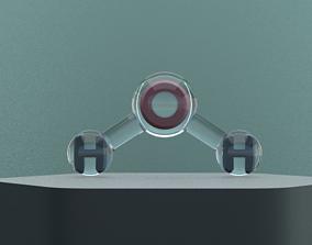 3D h2o water molecule