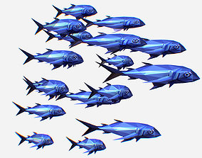 3D model Animated Low Poly Art Flock Blue Sea Fish