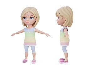 3D asset Cartoon little girl
