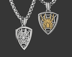 Spider on the web pendant keychain 3D print model