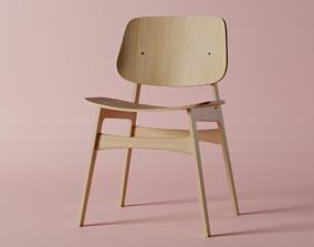 Plywood Chair 3D model retro