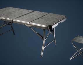 3D model Foldable Chair and Table Game Ready