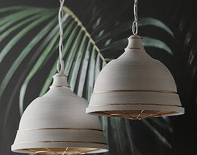 Bartlett Wide French White Pendant Light 3D model