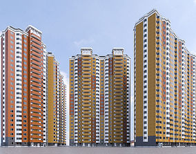 3D asset Hgh-rise Residential Apartment Buildings