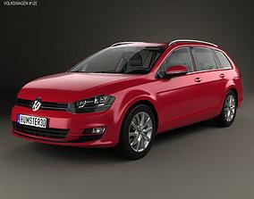 3D Volkswagen Golf variant with HQ interior 2014