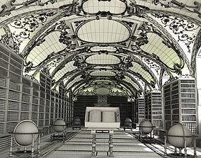 3D Spacious Elegant Library Scene