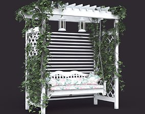 3D Garden white swing in Provence style