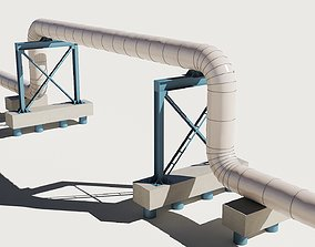 3D Industrial pipes sections