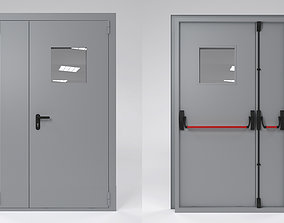 Fire double door with handle push anti-panic 3D model
