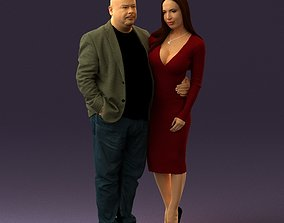 3D model Fat man in browngray jacket with girl in red
