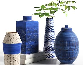 3D model Indigo Ceramic Vases with Leaves