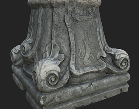 3D model Ruined column capital