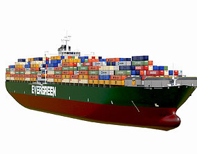 3D asset Container ship Evergreen