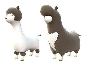 Lowpoly Animal Cartoon - Llama 3D asset