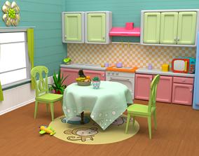 Kitchen Cartoon lowpoly 3D model
