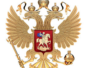 Coat of arms of Russia with golden eagle two-headed 3D