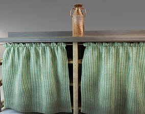 3D model Rustic wooden counter shelves with curtain