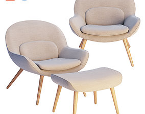 Steelcase x Bolia - Philippa Armchair and Pouf 3D model