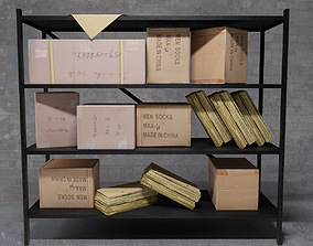 3D asset Shelf shelving box and boxes for storage 1