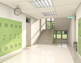 3D model School Hallway 002 green