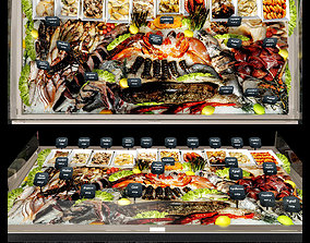 Showcase with seafood 3D model