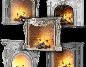 3D model classical fireplace set