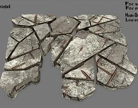 snow 3D model VR / AR ready stone set