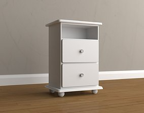Simple White Nightstand 3D asset