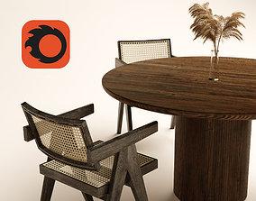 animated PIERRE JEANNERET Chandigarh Chair scene 3D model