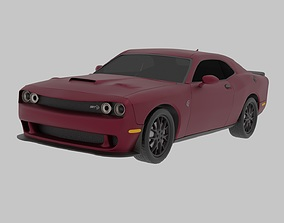 3D Dodge challenger SRT Hellcat with wheel animation